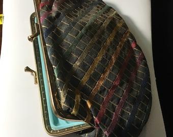Vintage Multicolored Striped Clutch