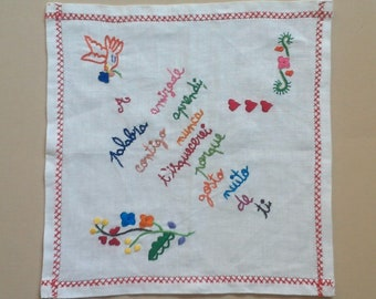 Hand Embroidered Portuguese Love Handkerchief