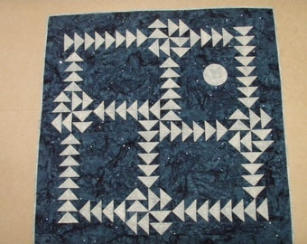 Handmade Quilted Wall Art Nightflight Puzzle with Moon Quiltsy Patchwork