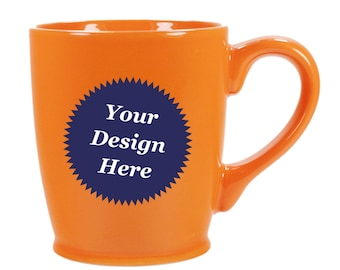 CUSTOM Orange Coffee Mug, ceramic - Choose your etched design