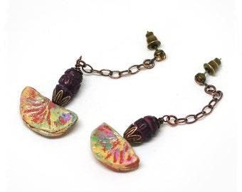 Small crescent tribal earrings, Boho dangle earrings for women, Colorful polymer clay earrings, Hippie earrings, Bohemian drop earrings,