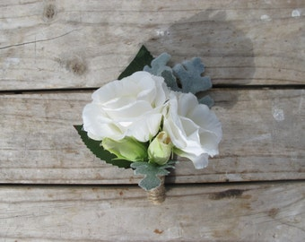 WHITE Boutonniere Wedding Buttonhole for Grooms made with artificial Lisianthus, Buds and Dusty Miller Rustic Vintage