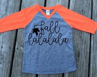 Fall Raglan // Fall lalalala // Kids Raglan // Baseball Tee // Falling Leaves // Autumn