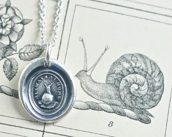 snail wax seal necklace ... allways at home - fine silver antique wax seal jewelry