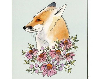 Fox with Flowers - 5x7 Mini Print