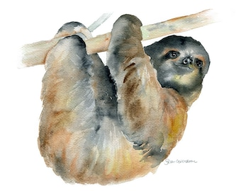 Sloth Watercolor Painting Giclee Print 10 x 8 - Fine Art Print - Ugly Cute Sloth Art - 11 x 8.5