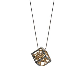 Gold plated Silver Pendant - Joy cube