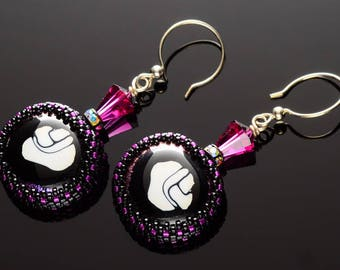 Abstract Magenta Fused Glass Earrings featuring a Glass Beaded Bezel, Vintage Swarovski Crystals and Sterling Silver Ear Wires