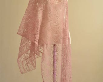 Wedding light pink lace stole knitted in mohair