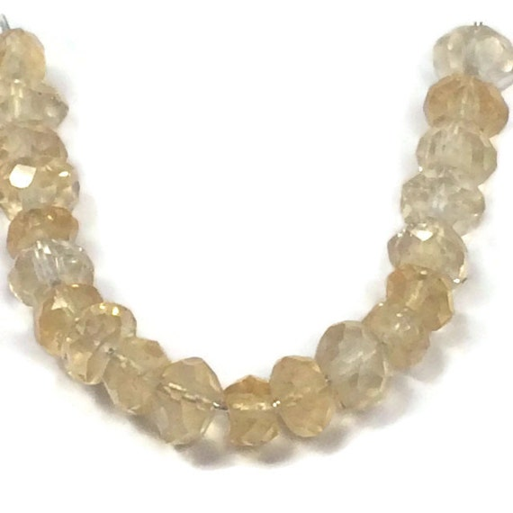 Natural Citrine Beads, Tiny Gemstone Rondelles, Faceted 3mm - 3.5mm Natural Gemstones for Jewelry Making, 20 Count (L-Ci3)