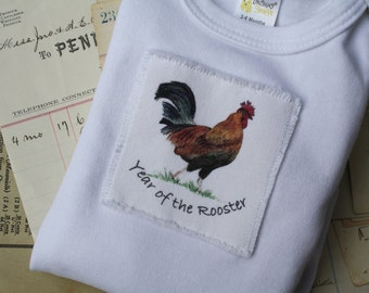 Year of the Rooster 2017 Baby Onesie, Chinese New Year, Onesie Infant Baby Short Sleeve, Sizes: 3-6 Month OR 6-12 Month