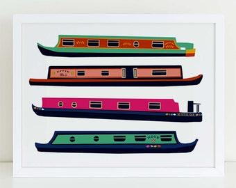London canal boat art print, graphic boat art print, narrow boat art, roses and castles, canal folk art