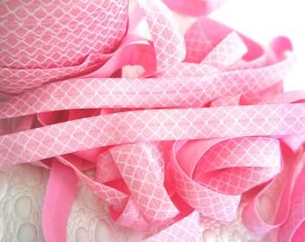 "5 Yards Pink Quatrefoil Fold Over Elastic - Printed FOE - 5/8"" FOE in 5 or 10 Yards"