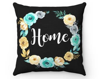 Home Pillow - Black Throw Pillow - Black Home Pillow - Black Home Decor - Black Decor Pillow - Floral Pillow - Turquoise and Black Pillows
