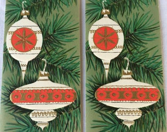 Pair of Mid Century CHRISTMAS Cards, Vintage Ornaments Greeting Cards, UNUSED Cards, 1950s-1960s