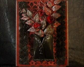 3d art Red/ Black rose damask