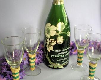 Glass Vase, Glass Bottle, Champagne Bottle, French Decor, Perrier Jouet, Cottage Chic, Home Decor, Green Glass Bottle, Vintage Glass