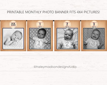 Baseball photo banner, First Year Picture Banner, Fits 4x4 phots, Vintage baseball banner, first birthday baseball sign, PRINTABLE FILE