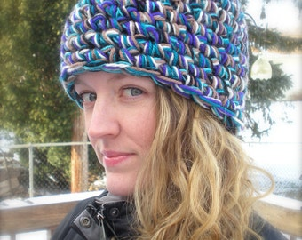 DIY CROCHET PATTERN:  Multi-Strand Hat, chunky beanie, adult size, P D F easy crochet pattern, InStAnT DoWnLoAd, Permission to Sell