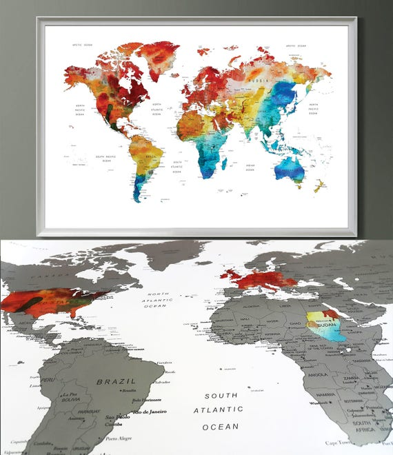 Gift for him scratch off map world map print scratchable like this item gumiabroncs Image collections