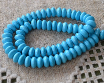 6x4mm Rondelle Turquoise Blue Magnesite Natural Gemstone Beads 16 Inches Strand