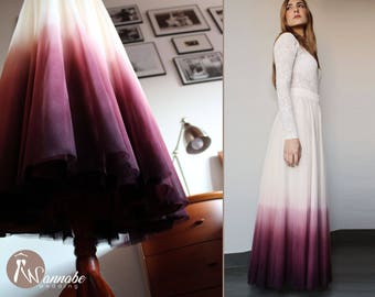 Ombre separates wedding dress: tulle ombre skirt and crochet pattern top with long sleeves, lace top, dip dyed wedding skirt, ombre tulle