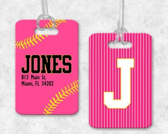 Softball Luggage Tag, Softball Backpack Tag, Softball Bag Tag, Luggage Tag Personalized, Monogrammed Bag Tag, Softball Gifts