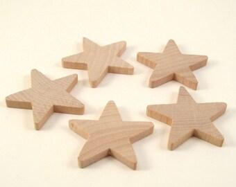25 Little Wooden Stars - 1 1/2 Inch