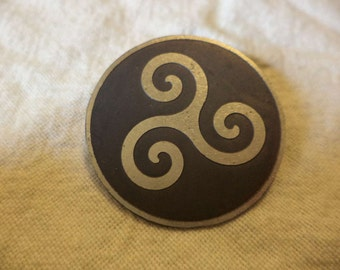 Celtic Spiral Etched Nickel Silver Pin