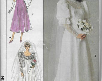 Vintage Simplicity 8426 Misses Brides and Bridesmaid Lined Dresses  Size 14 Bust 36 June Wedding Train 1980s Wedding Gown Pattern