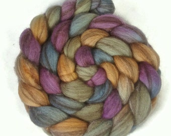 Handpainted Heathered BFL Wool Roving - 4 oz. RIVENDELL - Spinning Fiber