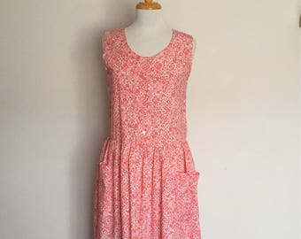 1980s Clouds Pink Floral Cotton Day Dress Vintage