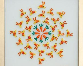Bunny Mandala. Rabbits. Art glass. Wall art. Glass art wall. Fused glass art. Glass panel. Mandala.