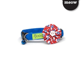 GOOOD Cat Collar   Bloomie - Oldie Goldie   100% Red & Blue Cotton Fabric   Safety Breakaway Buckle