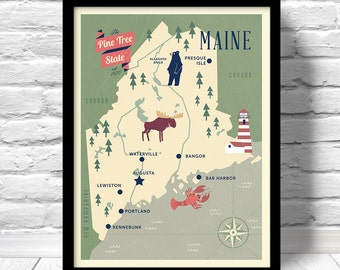 Maine Map, The Pine Tree state map, original Maine map, nursery map, Home State Map, Maine state poster, modern family map,state family map