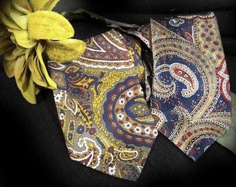 Two Paisley Ties, Pair of Neckties,  Vintage Men's Neckwear, Paisley Ties, Gold Tie, Blue Tie, - set of 2 ties- #T 64