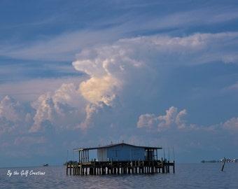 Photo Print, Stilt Home, 8X10 Glossy, Landscape, Sky, Clouds,Fine Art Print
