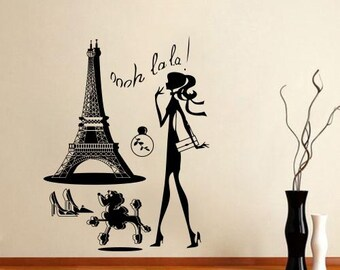 Wall Stickers Vinyl Decal Eiffel Tower Girl Shopping Poodle ParisTravel 6.5 FT -