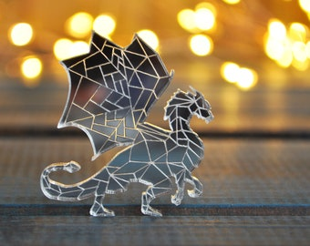 Dragon brooch - mirror acrylic dragon brooch, mirror silver dragon brooch, mirror dragon brooch, game of throne pin jewelry - ready to ship