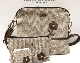 Beige Woven Crossbody Everyday Bag Purse Zipper Closure