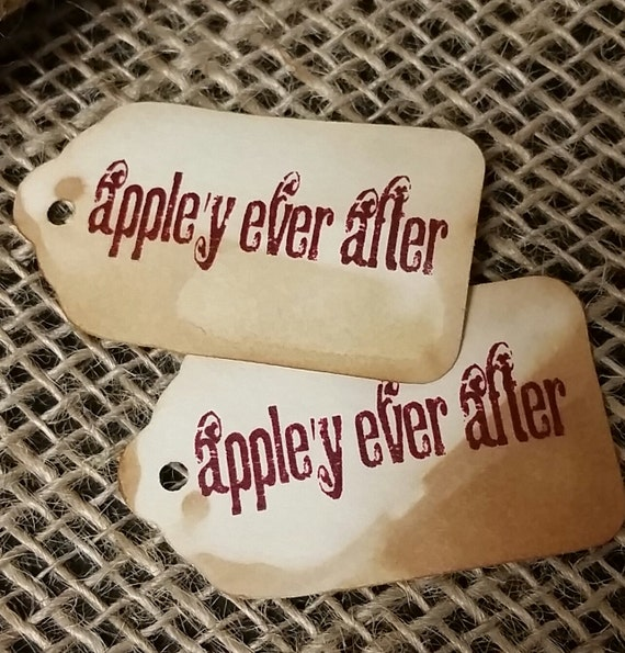 "Appely Ever After SMALL 2"" Favor Tag  NOT Personalized Choose your Quantity with the drop down box"
