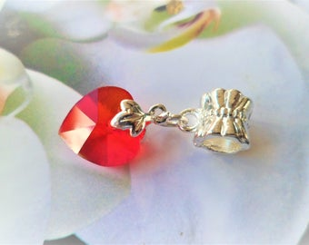 1 red heart love Support bail clip leaf Maple silver 25 mm charms pendants
