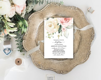 Pink Floral Baptism Invitation - Blush Pink Roses Personalized Custom Peony Flowers Pink Gold Baptism Printable Party Invite