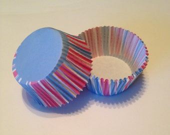 Pink and Blue Stripe Cupcake Liners