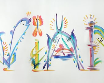 "Name Painting - Tropical Name Art Hand Painted ""Aviana"" (Or Substitute Any 6 Letter Name)"