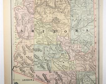1893 AntiqueArizona State Map