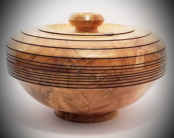 Maple Wood Handcrafted Bowl w/ Lid