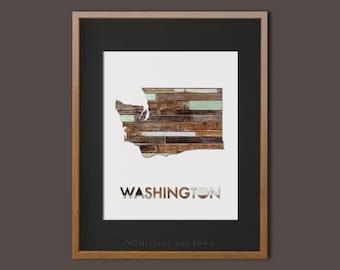 Washington State Printable Art Washington Art Printable Washington Map Printable Faux Wood Wall Printable Wall Art Housewarming Gift Poster