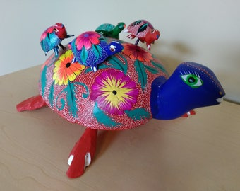 Oaxacan turtle folk art- Mexican alebrije- Oaxaca Mexico wood carving