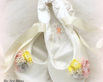 Ballet Flats Ivory Pink Yellow Ballet Shoes Satin Wedding Ballet Slippers Flats for Brides Bridal Flats Shoes